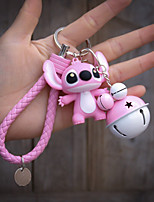 Cartoon Couple Stitch Car Key Chain Chain Package Pendant Accessories Pu Rope Fight Color Bells