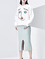 CHOCOLATONE Women's Petite Solid Split SkirtsCasual/Daily Simple High Rise Midi Cotton