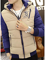 Men's Padded Coat,Simple Plus Size / Casual/Daily Print-Polyester Without Filling Material Long Sleeve White / Brown / Green / Yellow