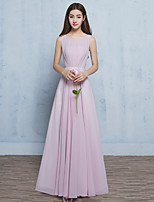 Formal Evening Dress A-line Scoop Floor-length Chiffon with Sash / Ribbon