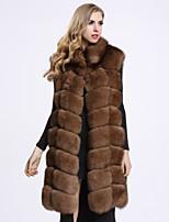 Женский На каждый день Однотонный Пальто с мехом Воротник-стойка,Изысканный Зима Коричневый Без рукавов,Лисий Мех
