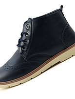 Men's Oxfords Spring Fall Comfort Leather Casual Flat Heel Lace-up Black Blue Brown Other