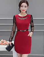 Women's Going out Simple A Line Dress,Patchwork Round Neck Above Knee Long Sleeve Red Rayon Fall High Rise Inelastic Medium
