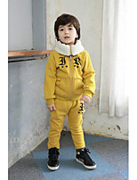Boy's Casual/Daily Print Clothing SetCotton Winter / Spring / Fall Black / Yellow
