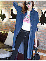 Women's Casual/Daily Simple Denim Jackets,Solid Round Neck Long Sleeve Fall Blue Others