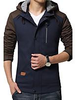 Мужской Хлопок / Полиэстер Куртка На каждый день / Большие размеры,Пэчворк,Длинный рукав,Синий / Красный