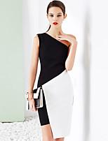 Gaine Robe Femme Habillées simple,Couleur Pleine Epaules Dénudées Au dessus du genou Sans Manches Noir Coton Eté Taille Normale Elastique