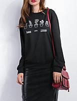 Women's Casual/Daily Simple Regular Hoodies,Print Black Round Neck Long Sleeve Cotton Fall / Winter Medium Micro-elastic