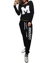 Women's Sports Active Summer Set PantLetter Round Neck Long Sleeve Black / Gray Polyester Medium