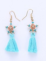 The European And American Fashion Five-Star Tassels Eardrop National Wind Earrings Female Dance Clothing Accessories