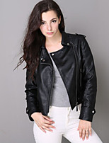 Women's Casual/Daily Street chic Leather JacketsSolid / Letter Shirt Collar Long Sleeve Fall / Winter Black PU Medium
