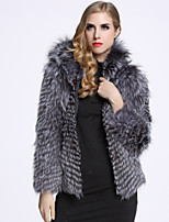 BF-Fur Style Women's Casual/Daily Sophisticated Fur CoatSolid Shirt Collar Long Sleeve Winter Gray Fox Fur