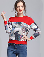 Women's Casual/Daily Simple Regular Pullover,Print Red / White / Black / Gray Round Neck Long Sleeve Cotton Fall / Winter Medium