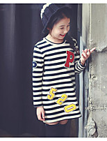Girl's Casual/Daily Striped DressCotton Winter / Fall White