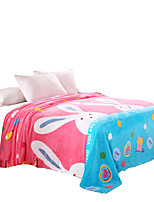 Bedtoppings Blanket Flannel Coral Fleece Queen Size 200x230cm Rabbit Prints 210GSM
