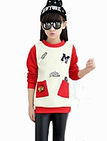 Girl's Casual/Daily Embroidered BlouseCotton Winter / Spring / Fall Red / Gray