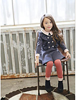 Girl's Casual/Daily Solid DressCotton Winter / Fall Blue