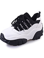 Women's Athletic Shoes Spring Fall PU Outdoor Casual Low Heel Creepers Lace-up Black Red White Walking