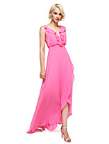 Lanting Bride®Asymmetrical Georgette Bridesmaid Dress - Elegant Sheath / Column V-neck with Ruffles