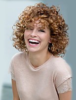 Brown Color Short Curly European Synthetic Wigs For Afro Women