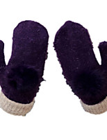 Wool Lady Warm Gloves (Purple Rabbit Ball Gloves)