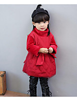 Girl's Casual/Daily Solid DressCotton Winter / Fall Red