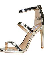 Women's Sandals Summer Novelty PU Party & Evening / Dress / Casual Stiletto Heel Zipper Black / Red / Gold / Nude