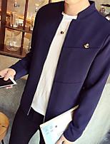 Мужчины На каждый день Однотонный Куртка Воротник-стойка,Простое Осень Синий Длинный рукав,Полиэстер,Тонкая