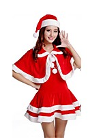 Christmas Costume /Holiday Halloween Costumes Red Solid Skirt / Hats Christmas Female Pleuche
