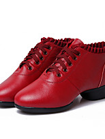 Non Customizable Women's Dance Shoes Leather Leather Latin /Modern Sneakers Chunky Heel Practice