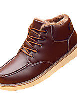 Men's Flats Fall / Winter Comfort PU Casual Flat Heel Others / Lace-up Black / Blue / Brown Others