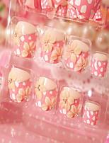 маникюр законченный поддельные ногти ногти лак для маникюра цветок патч 24 таблетки с клеем