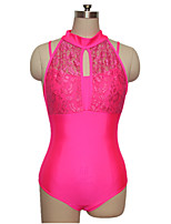 Ballet Leotards Training Nylon Lace Lycra Lace 1 Piece Sleeveless High Leotard