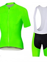 Fluo  green Cycling Jersey with Bib Shorts Men's Short Sleeve Bike Breathable / Quick Dry / Anatomic Design / Front Zipper / 3D coolmax gel pad