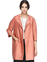 CANTO MOTTO Women's Going out Simple Trench CoatSolid Shirt Collar Long Sleeve Fall Orange Linen / Nylon Opaque