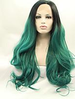 Sylvia синтетический парик фронта шнурка черный зеленый ломбера волосы жаростойкие длинные естественная волна синтетические парики