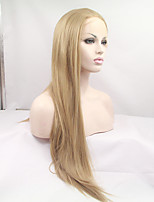 sylvia laço sintético frente peruca loira de calor longas perucas sintéticas retas resistentes