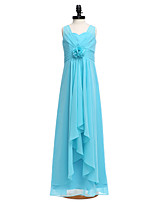 2017 Lanting Bride® Floor-length Chiffon Junior Bridesmaid Dress Sheath / Column Straps with Flower(s)