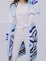 Longue Cardigan Femme Décontracté / Quotidien simple,Imprimé Bleu Rose Drapé Manches Longues Coton Automne Moyen Micro-élastique