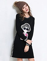 Women's Plus Size / Going out / Casual/Daily Simple / Cute / Street chic Shift Dress,Solid / Patchwork Round Neck Above Knee Long Sleeve