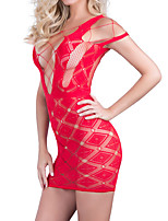 Women Ultra Sexy Nightwear,Lace Solid-Medium Spandex Red Black