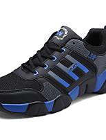 Unisex-Sportschuhe-Lässig / Sportlich-Tüll-Flacher Absatz-Komfort-Schwarz / Blau