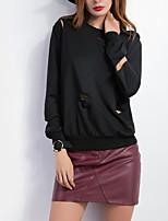 Women's Casual/Daily Simple Regular Hoodies,Solid Black Round Neck Long Sleeve Cotton Fall / Winter Medium Micro-elastic