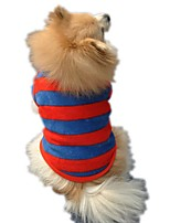 Elegant Stripe Blue and Red Fleece Shirt for Pets Winter Dog Clothes