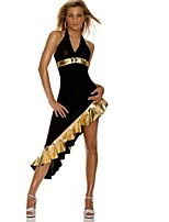 Sexy Black Asymmetrical Dress Latin Dance Party Costume Women Sexy Uniform