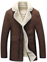 Мужчины Большие размеры Однотонный Кожаные куртки V-образный вырез,Винтаж / Простое Осень / Зима Черный / Коричневый / Серый Длинный рукав
