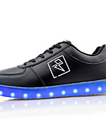 Unisex Sneakers Spring / Fall Comfort PU Casual Flat Heel LED Black / White Others