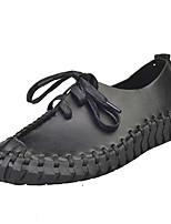 Women's Flats Spring / Fall Comfort PU Casual Flat Heel Ruched / Lace-up Black / Gray / Beige Others