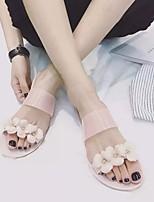 Sandály-PVC-S páskem-Dámské-Černá / Béžová-Běžné-Plochá podrážka