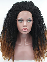 Sylvia Synthetic Lace front Wig Black Dark Auburn Ombre Hair  Heat Resistant Kinky Curly Synthetic Wigs
